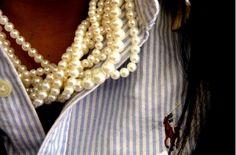 pearls+striped oxford