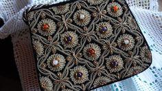 Gorgeous beaded black velvet handbag
