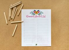Persnickety Prints - Free Download: Summer Bucket List -