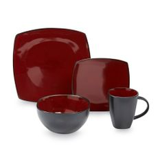 16pc Dinnerware Set Square Black Red White Flowers Plate Bowl