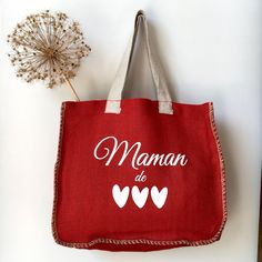 Cabas Juco Maman de ... Couture, Reusable Tote Bags, Large Bags, Artichoke, Hessian Fabric, Clutch Bag, Clutch Bags, Velvet, Earth