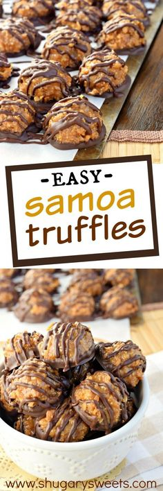 you love Caramel deLites or Samoa Girl Scout Cookies, then these easy Samoa Truffles are going to drive your taste buds crazy!If you love Caramel deLites or Samoa Girl Scout Cookies, then these easy Samoa Truffles are going to drive your taste buds crazy! Brownie Desserts, Oreo Dessert, Just Desserts, Dessert Recipes, Easter Desserts, Fancy Desserts, Spanish Desserts, Blueberry Desserts, Delicious Cookie Recipes