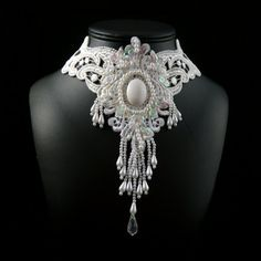 White Victorian Lace Choker Necklace  Bridal Fabric by Arthlin, $48.00