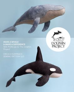 Felt Humpback and Orca Whale Sewing Patterns di LoriDesignsOnline Diy Arts And Crafts, Felt Crafts, Fabric Crafts, Sewing Toys, Sewing Crafts, Sewing Projects, Plushie Patterns, Stuffed Toys Patterns, Felt Toys
