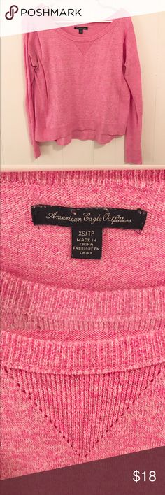 Pink American Eagle sweater! Super cute long sleeve pink sweater, size xs from American Eagle. Only worn a few times and still looks brand new. American Eagle Outfitters Sweaters
