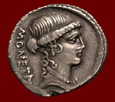 Denarius of Juno Moneta (c. In 390 BCE, the goddess's sacred geese warned (monere) the Romans of an attack by Gauls, thus her temple on the Capitoline was dedicated to Juno Moneta and the coin mint established nearby. Ancient Rome, Ancient Art, Ancient History, Roman History, Art History, Roman Artifacts, Roman Gods, Antique Coins, World Coins