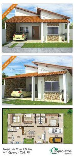 Design of a single storey house covered in clay tile, with 3 bedrooms, two of which are suites, kitc Dream House Plans, Modern House Plans, Small House Plans, House Floor Plans, My Dream Home, Bungalow Haus Design, House In Nature, 3d Home, Small House Design
