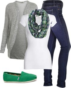 comfy fall outfit~ I LOVE this outfit. Love the green shoes & the plaid scarf....I need a plaid scarf :)