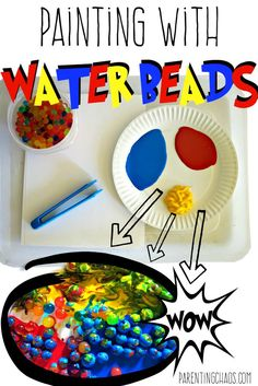 Painting with Water Beads is an amazing process art and sensory experience that your child will love! This is a perfect activity for working on fine motor, language development, and cause and effect. Baby Sensory, Sensory Bins, Sensory Play, Sensory Rooms, Sensory Table, Motor Activities, Sensory Activities, Activities For Kids, Painting Activities
