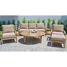 Outdoor Willow Creek Huntington 6 Piece Teak Patio Conversation Set with Chat Table Davidson Redwood - WC-24-5606