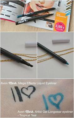 Avon Mark. Mega Effects Liquid Eyeliner in Black and Avon Mark. Artist Gel Longwear Eyeliner in Tropical Teal review and swatches.  via @beautybymissl