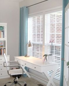 furniture + color palette: white, gray and blue | Before & After: Home Office Gets a Light & Lively Makeover Designed to Dwell | Apartment Therapy