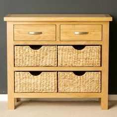 London Oak Console Table with Baskets