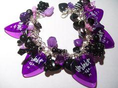 Purple and Black Guitar Pick Charm Bracelet £10.00