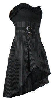 Wrap  Buckle Gothic Victorian Steam Punk Ruffle Bustier Pinstripe Waistcoat Top/Dress