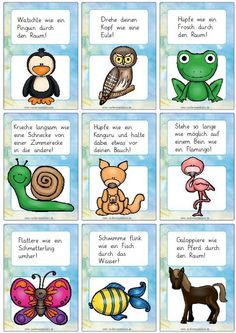 Yoga For Kids, Diy For Kids, Animal Movement, Kids Sand, German Language Learning, Design Blog, Picture Cards, Animal Quotes, Toddler Activities