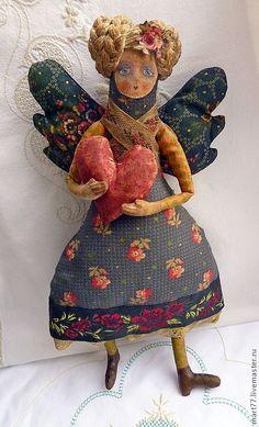 Fabric Dolls, Fabric Art, Paper Dolls, Art Dolls, 3d Figures, Valentines Art, Art Textile, Arte Popular, Angel Art