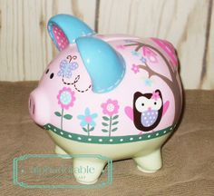 SMALL artisan hand painted ceramic personalized piggy bank ~ Calico Owls theme pink and blue