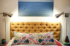 """Detailed instructions for diy diamond tufted headboard. Use pegboard, 3"""" foam, 2 yards of fabric for queen size. Great tutorial by Jenny at Little Green Notebook."""