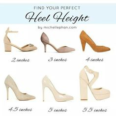 Perfect Heel Height 2 & 3″ Perfect for: School or work, where comfort is a must. Even if you're not standing constantly, being on the move throughout the day can take its toll.  3.5 – 4.5″ Perfect for: A dinner party with coworkers or a date night.