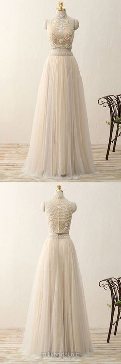 Two Piece Prom Dresses 2018, Long Two Piece Prom Dresses, A-line Two Piece Prom Dresses, High Neck Tulle Beading Party Gowns