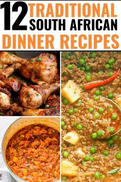 12 South African Dinner Recipes - Best Traditional South African Food Dishes To Easy South African Dinner recipes that make the perfect comfort foods. These traditional South African food dishes and side dishes are South African Dishes, West African Food, South African Recipes, Mexican Food Recipes, Ethnic Recipes, South African Desserts, Dessert Recipes, Low Carb Dinner Recipes, Cooking Recipes
