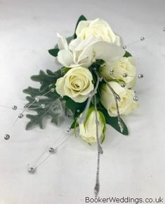 Gorgeous white spray roses and silver sparkle pin corsage for Mother of the Bride/Groom White Spray Roses, Our Wedding, Wedding Venues, Wedding Corsages, Vera Wang Wedding, Button Hole, Wrist Corsage, Flower Delivery, Bridesmaid Bouquet