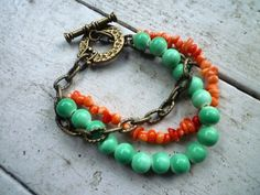 Easter egg hunt Peach coral nuggets mint green by BeadMuse1