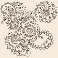 draw flower patterns Hand-Drawn Intricate Abstract Flowers and Mandala Mehndi Henna Tattoo Paisley Doodle - Illustration Stock Photo - - Millions of Creative Stock Photos, Vectors, Videos and Music Files For Your Inspiration and Projects. Paisley Doodle, Paisley Drawing, Henna Kunst, Henna Art, Mehndi Art, Mandalas Painting, Mandalas Drawing, Zentangles, Zentangle Drawings