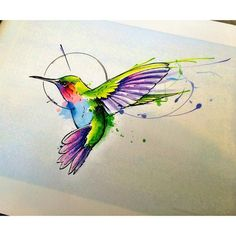 Image result for hummingbird tattoo neck watercolor