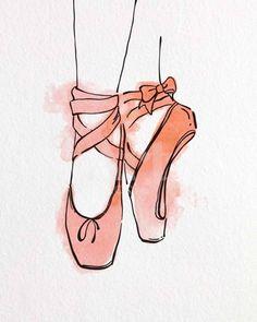 Ballet Drawings, Art Drawings Sketches, Easy Drawings, Ballet Shoes Drawing, Shoe Drawing, Shoe Sketches, Art Ballet, Ballet Dancers, Happy Art