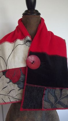 Ladies fabric Scarf/wrap wearable art clothing by QUIRKYCHICS, $35.00 ...... here is an example, already selling ~  overlocked contrasting pieces worked into a scarf look then topped with a bold button.