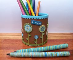 Upcycled Pencil Holder polymer clay by FlowertownOriginals on Etsy, $27.00