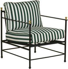ONE KINGS LANE OUTDOOR Frances Lounge Chair, Green/White Sunbrella