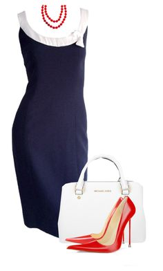 """Blue Dress with White Collar"" by paperdollsq ❤ liked on Polyvore featuring Michael Kors and Chanel"
