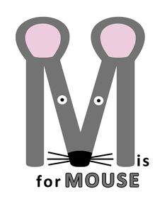 Letter M Print, Mouse Alphabet Animal, Childrens Art for Nursery or Kids Room, 8x10