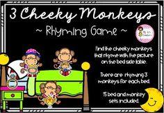 3 Cheeky Monkeys Rhyming Game Rhyming Activities, Literacy Games, Fun Games, Monkeys, Cool Games, Rompers, Monkey, At Sign