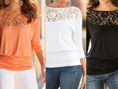 Fashion Women Summer Loose Casual Chiffon Long Sleeve Lace T Shirt Tops Blouse | eBay