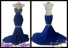 Royal blue soft mermaid dress, with an illusion back and neckline, detailed with silver beadwork. An illusion knee area detailed with silver beadwork. With a train. Matric Farewell Dresses, Matric Dance Dresses, Prom Dresses, Formal Dresses, Prom Dance, All About Fashion, Beadwork, Dress Making, Illusion