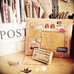 the joy of creative snailmail blog post and I wish she listed where that stamp is from, very cute