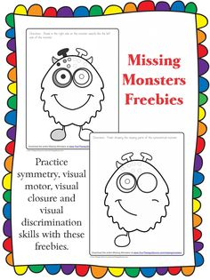 Missing Monsters Freebie from http://yourtherapysource.com/missingmonsters.html