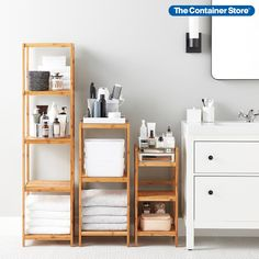 Shop shelving solutions that are suitable for spaces both big and small. (Pictured: 5-Tier Bamboo Tower, 3-Tier Bamboo Tower, 3-Tier Bamboo Shelf) Bathroom Storage Solutions, Bathroom Storage Shelves, Nursery Storage, Bath Storage, Shelving Solutions, Bathroom Organization, Grey Drawers, Vanity Drawers, Bamboo Shelf