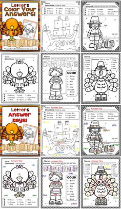 Thanksgiving Fun! Letters - Color Your Answers Printables! FIVE No Prep Printables that can be used for your reading or math center, small group, RTI pull out, seat work or homework. #TPT $Paid
