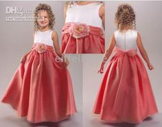 Wholesale Pretty coral ball gown satin full length flower girl dresses kids dress junior bridesmaid dresses, $33.6-50.4/Piece | DHgate
