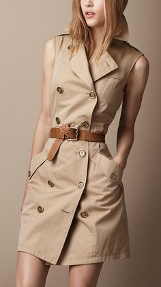 Burberry sleeveless trench dress Forever known for its trench coats why not carry the legacy forward by chopping out the sleeves for Spring and Summer Its a stylish stapl. Casual Dresses, Casual Outfits, Fashion Dresses, Woman Dresses, Casual Wear, Look Fashion, Womens Fashion, Fashion Trends, Fashion Coat