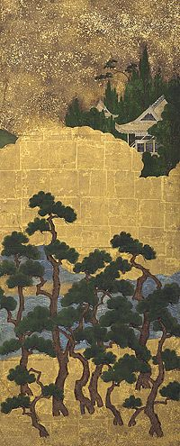Pine trees by the shore c.1550, Muromachi period (1339–1574) Japan, pair of six-fold screens.
