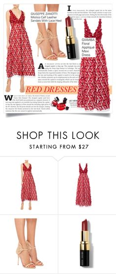 """""""Hot Red Dress"""" by martso ❤ liked on Polyvore featuring Giamba, Alexis Mabille, Giuseppe Zanotti, Bobbi Brown Cosmetics, women's clothing, women, female, woman, misses and juniors"""