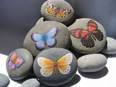 24 Popular Items for Hand Painted Stones Pebble Painting, Pebble Art, Stone Painting, Diy Painting, Stone Crafts, Rock Crafts, Arts And Crafts, Butterfly Painting, Butterfly Art