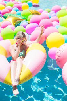 An Epic Rainbow Balloon Pool Party Epic Balloon Pool Party!