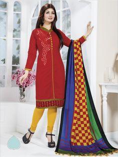 Red Formal Chanderi Suit